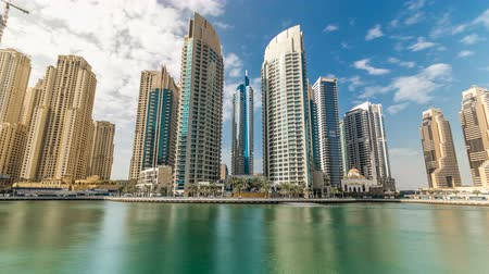 эмираты : View of Dubai Marina modern Towers in Dubai at day time timelapse