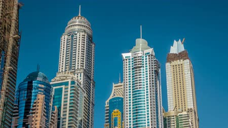 cayan tower : Luxurious Residence Buildings timelapse hyperlapse in Dubai Marina, UAE