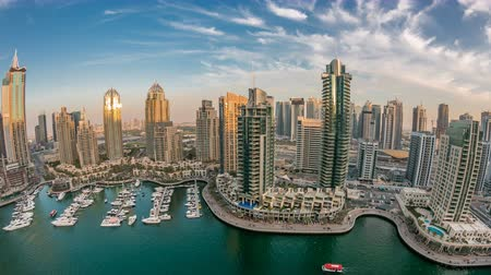birleşik arap emirlikleri : Beautiful aerial top view at sunset timelapse of Dubai Marina in Dubai, UAE Stok Video