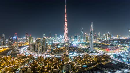 эмираты : Dubai Downtown at night timelapse view from the top in Dubai, United Arab Emirates Стоковые видеозаписи