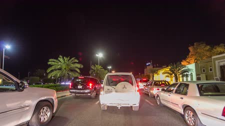 penas : Drive through the traffic in the city highway timelapse hyperlapse in Kuwait. Kuwait, Middle East