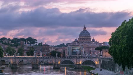 rzym : Rome, Italy: St. Peters Basilica, Saint Angelo Bridge and Tiber River after the sunset day to night timelapse