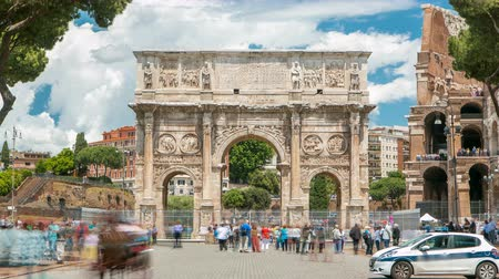 arch of constantine : Arch of Constantine timelapse, Rome, Italy.