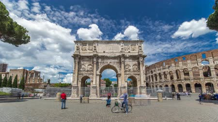 arch of constantine : Arch of Constantine timelapse hyperlapse, Rome, Italy.