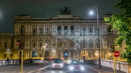 supremo : Rome, Italy. Palace of Justice night timelapse - courthouse building with Ponte Sant Umberto bridge
