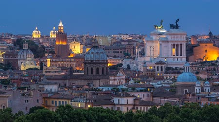 rzym : Panoramic view of historic center day to night timelapse of Rome, Italy