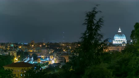 roma : Panoramic view of historic center with Vatican night timelapse of Rome, Italy