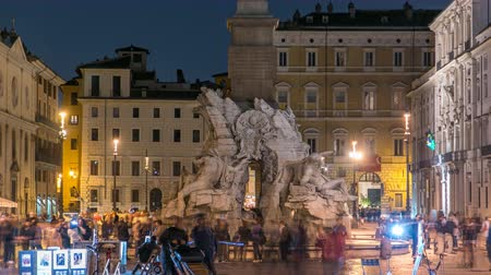 triton : Fountain of the Four Rivers timelapse, Piazza Navona Rome, Fontana di Quattro Fiume, Bernini marble sculpture