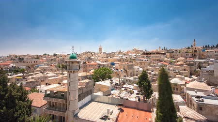 panorâmico : Panorama of Jerusalem Old City and Temple Mount timelapse hyperlapse from Austrian Hospice Roof, Israel