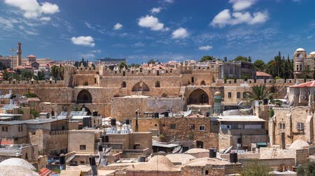 panorâmico : Panorama of Jerusalem Old City and Damascus Gate timelapse from Austrian Hospice Roof, Israel Stock Footage