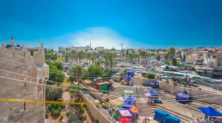 sepulcher : View from the top of Damascus gate to Jerusalem Old Town timelapse. Israel.