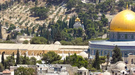 sepulcher : Panorama overlooking the Old city of Jerusalem timelapse, Israel, including the Dome of the Rock