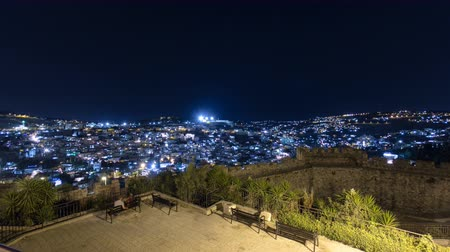 jerozolima : Old City of Jerusalem night timelapse hyperlapse. Muslim Quarter, West Bank. Top view