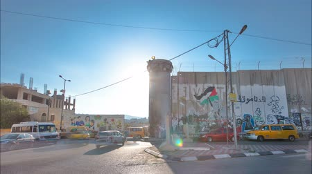 israelite : The Israeli West Bank barrier is a separation barrier timelapse hyperlapse. Bethlehem, Palestine.