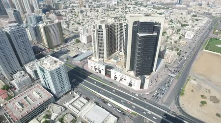 homokóra : Cityscape of Ajman with modern buildings aerial top view