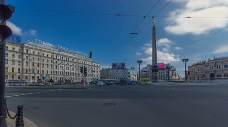 nevsky : Vosstaniya square and Obelisk Hero City Leningrad timelapse hyperlapse. ST.PETERSBURG, RUSSIA