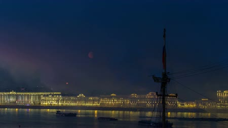 escarlate : Fireworks timelapse over the city of St. Petersburg Russia on the feast of Scarlet Sails, view from roof.