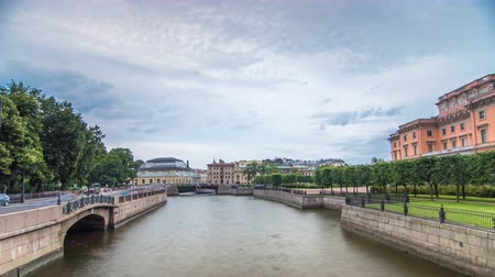 imperial : View of the Embankment of the river Moyka and Mikhailovsky Castle timelapse hyperlapse. Saint Petersburg. Russia.