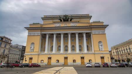 nevsky : The rear facade of the building of the Alexandrinsky Theatre timelapse hyperlapse in St. Petersburg