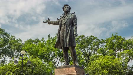 st petersburg : Monument to Alexander Pushkin timelapse hyperlapse on Ploshchad Iskusstv Arts Square in St.-Petersburg, Russia Stock Footage
