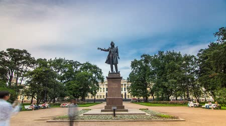 poeta : Monument to Alexander Pushkin timelapse hyperlapse on Ploshchad Iskusstv Arts Square in St.-Petersburg, Russia Stock Footage