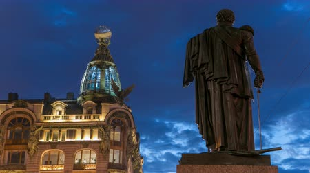 nevsky : Singer House and Kutuzov monument at the Saint Petersburg night timelapse. Stock Footage