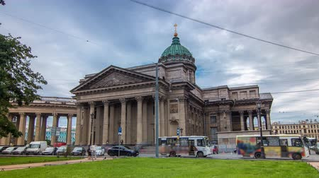 relics : Kazan Cathedral or Kazanskiy Kafedralniy Sobor timelapse hyperlapse in Saint Petersburg Stock Footage