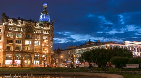 st petersburg : Singer House at the Saint Petersburg night timelapse. Stock Footage
