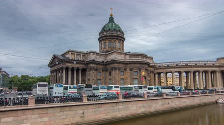 nevsky : Kazan Cathedral or Kazanskiy Kafedralniy Sobor timelapse hyperlapse in Saint Petersburg Stock Footage