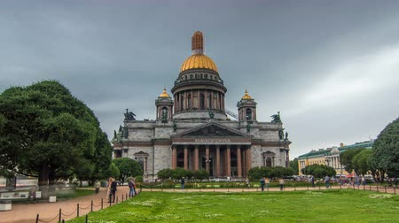 russian culture : St. Isaac Cathedral timelapse hyperlapse in Saint-Petersburg, Russia. Sityscape