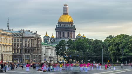 prospect : Saint Isaacs cathedral from the Palace square timelapse hyperlapse in Saint Petersburg, Russia. Stock Footage