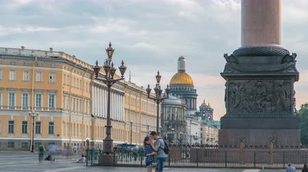 isaac cathedral : Saint Isaacs cathedral from the Palace square timelapse in Saint Petersburg, Russia. Stock Footage