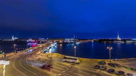 steeples : Malaya Neva river. Birzhevoy Exchange Bridge and traffic at night timelapse. St.-Petersburg, Russia