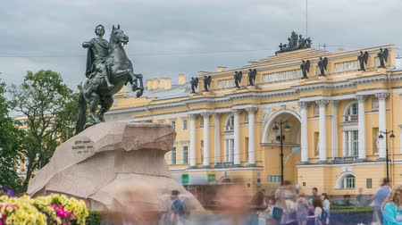 fama : Monument of Russian emperor Peter the Great, known as The Bronze Horseman timelapse, Saint Petersburg , Russia