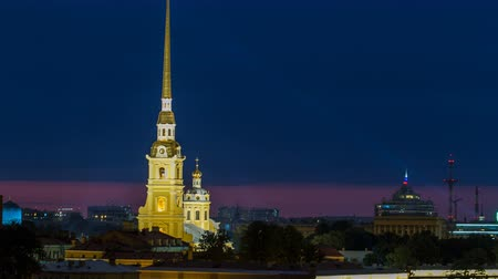 peter and paul fortress : The Peter and Paul Fortress night timelapse is the original citadel of St. Petersburg, Russia