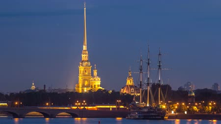 православие : The Peter and Paul Fortress day to night timelapse is the original citadel of St. Petersburg, Russia Стоковые видеозаписи