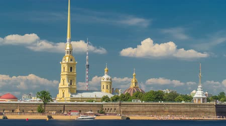 art : Peter and Paul Fortress across the Neva river timelapse hyperlapse, St. Petersburg, Russia