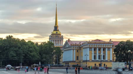 st petersburg : Building of naval engineering Institute Admiralty on Palace square timelapse hyperlapse. St.Petersburg, Russia Stock Footage
