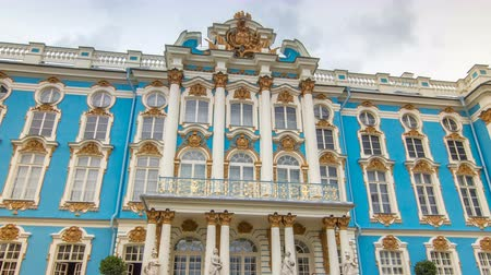 st petersburg : The Catherine Palace timelapse hyperlapse is a Rococo palace located in the town of Tsarskoye Selo Pushkin Stock Footage