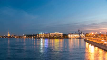 темно синий : Nakhimov Naval School and the Peter and Paul Fortress, the view from the Liteyniy bridge without Aurora day to night timelapse. St. Petersburg