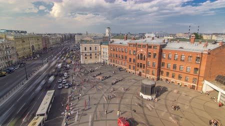 nevsky : The view from the roof on Ligovsky Prospekt and Moskovsky train station timelapse. Russia. Saint-Petersburg. Stock Footage