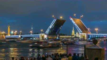 peter and paul fortress : View of the opening Palace Bridge timelapse, which spans between - the spire of Peter and Paul Fortress
