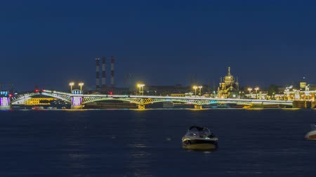 lieutenant : The Blagoveshchensky Annunciation Bridge timelapse during the White Nights in St. Petersburg, Russia