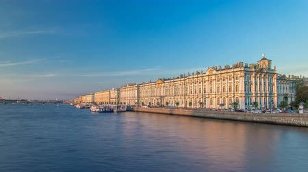 winter palace : The winter Palace timelapse hyperlapse and pier on the Palace embankment clear day in summer in Saint-Petersburg