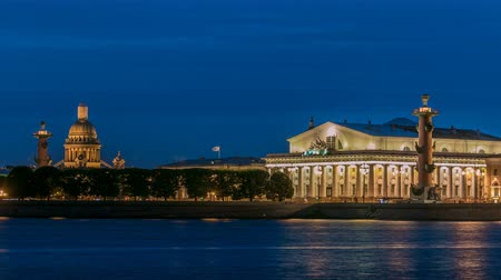 crimson : View of the Old Stock Exchange timelapse, rastralnye column, St. Isaacs Cathedral. St. Petersburg Russia
