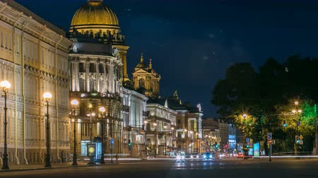 prospect : Saint Isaacs cathedral from the Palace square night timelapse in Saint Petersburg, Russia.