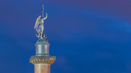 alexander column : Statue of angel on the Alexandria column on Palace Square night timelapse .Saint- Petersburg. Russia