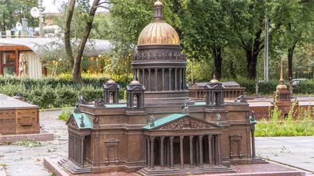 alexander column : Mini City in the Alexander Park. Layout of St. Isaacs Cathedral timelapse hyperlapse, St. Petersburg Stock Footage