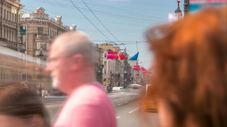 nevsky : view of the Nevsky Prospekt timelapse near Uprising Square in St Petersburg. Russia Stock Footage