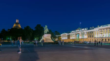 dourado : Peter the Great monument Bronze Horseman on the Senate Square night timelapse. ST PETERSBURG, RUSSIA